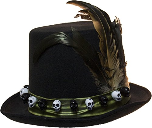 Men's 6 Inch Deluxe Voodoo Witch Doctor Hat with Green Satin Band (Voodoo Queen Costume)