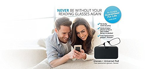 ThinOptics Reading Glasses + Black Universal Pod Case | Classic Collection, Black Frames, 1.50 Strength