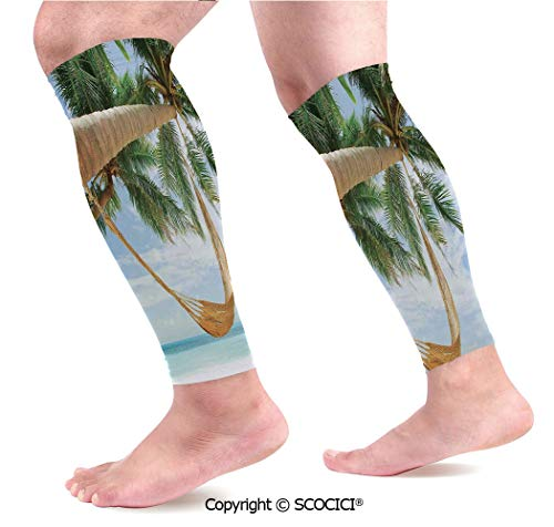 Flexible Breathable Comfortable Leg Skin Protector Sleeve View of Nice Hammock with Palms by The Ocean Sandy Shore Exotic Artsy Print Decorative Calf Compression Sleeve