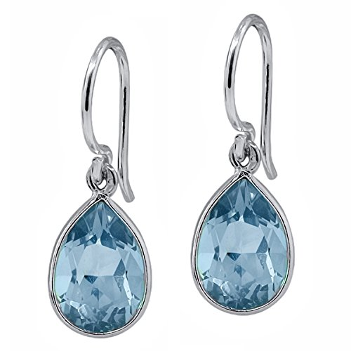 Sterling Silver Genuine Swiss Blue Topaz Gemstone Birthstone Dangle Earrings