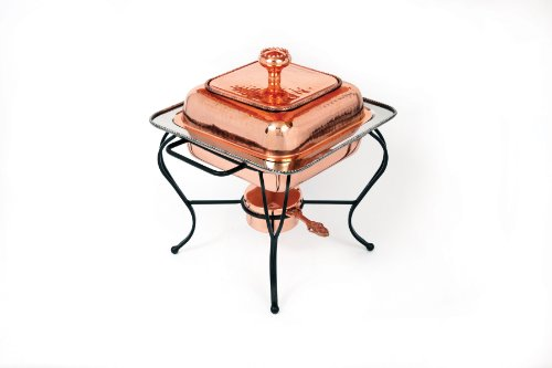 Star Home 2-Quart Square Copper Plated Chafing Dish 2 Quart Chafing Dish