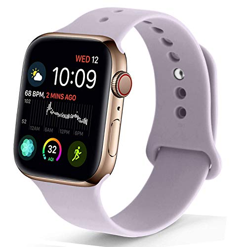 Strap Watch Sports - NUKELOLO Sport Band Compatible with Apple Watch 38MM 40MM, Soft Silicone Replacement Strap Compatible for Apple Watch Series 4/3/2/1 [Lavender Color in S/M Size]