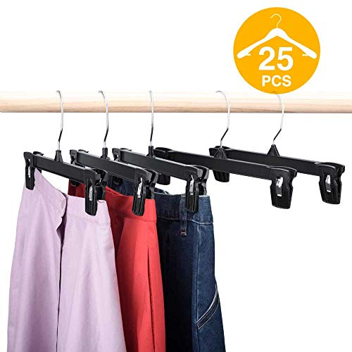 - HOUSE DAY Skirt Hangers 25 Pcs 10inch Black Plastic Pants Hangers with Non-Slip Big Clips and 360 Swivel Hook, Durable Sturdy Plastic, Space-Saving Shape, Elegant for Closet Organizing