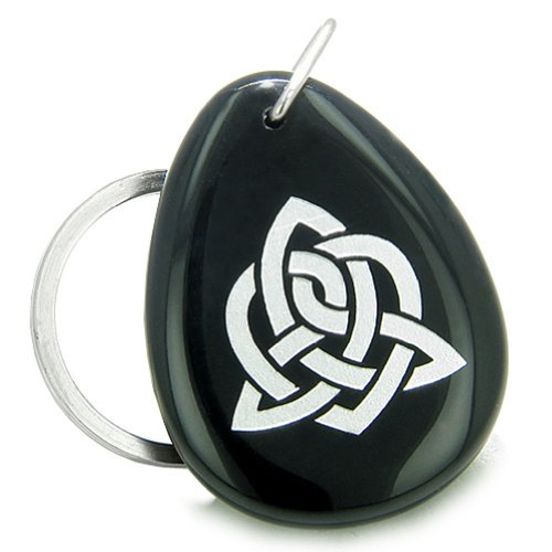 Amulet Triple Magic Energy Celtic Triquetra Shield Knot Black Agate Gem Keychain