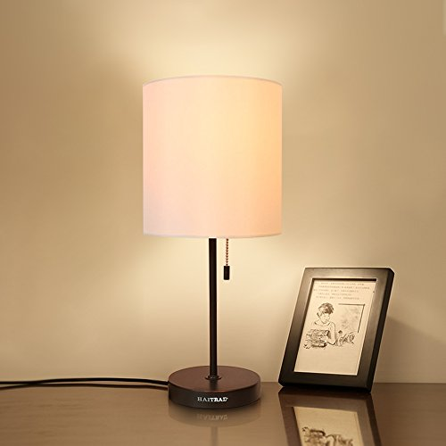 HAITRAL Table Lamp Metal Basic Modern Desk Lamp Fabric Shade Minimalist Bedroom Lamps for Gifts,Office,Living Room