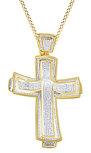1.81Ct Round Cut White Cubic Zirconia Hip Hop Cross Pendant In 14K Gold Over Sterling Silver by Wishrocks