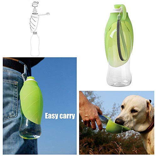 Outdoor Folding Pet Water Bottle, Elevin(TM) Portable Pet Dog Cat Water Bottle Travel Dog Cat Bowl Drinking Outdoor Dispenser (Green)