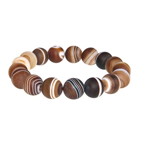 Jan Dee Natural Brown Grind Arenaceous Banded Agate Crystal Bracelet Round Bead Bangle 12mm