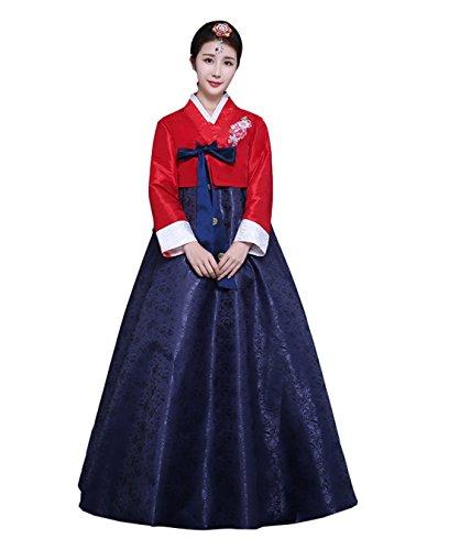 Ez-sofei Women's Korean Traditional Costumes Hanbok Dancing Dresses XL Blue&Red