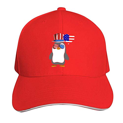 Patriot Penguin American Independence Day July 4th Adjustable Baseball Cap, Old Sandwich Cap, Pointed Dad Cap Red