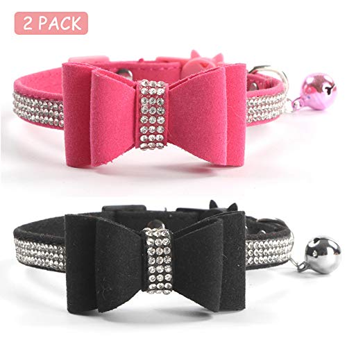 CHUKCHI 2 Pack Cat Collar Bling Diamond Breakaway with Cute Bow Tie and Bell for Kitty and Some Puppies, Adjustable from 7.8-10.5 Inch