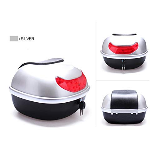 (Automotive Motorcycle Tail Box Scooter Trunk Top Case Saddlebags Luggage - (Color: Silver))