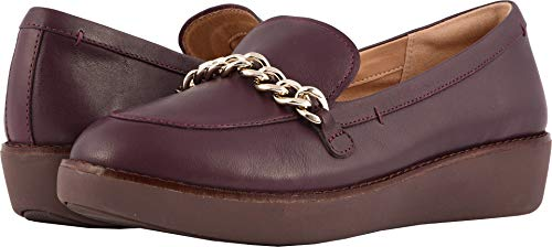 FitFlop Womens Paige Chain Moc Loafer Shoes, Deep Plum, US -