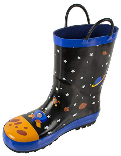 Rainbow Daze Kids Rain Boots Spaceship,Astronaut Galaxy Print,Waterproof 100% Rubber,Little Kid Size 11/12,Black Blue