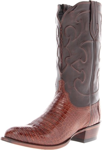 Lucchese Classics Men's Charles-sien Bly Croc/dkbrn Derby Cal Riding Boot, Sienna, 10 D US