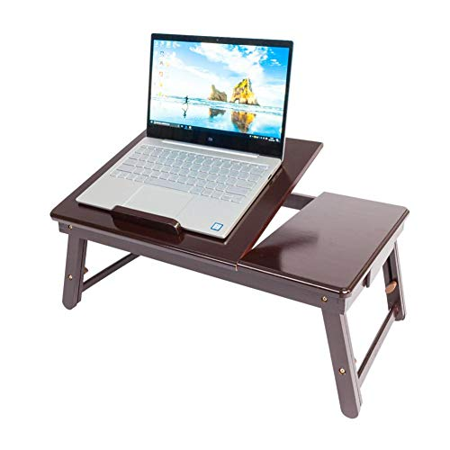 Eine-Shop Laptop Desk Table Retro Double Flowers Pattern Adjustable Bamboo Lap Desk Tray for Lap and Writing, Bed Tray Table for Couch and Sofa
