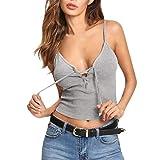 Womens Tank Tops Sleeveless V Neck Bandage Tee Shirt Casual Soild Short Camisole (XL, Gray)