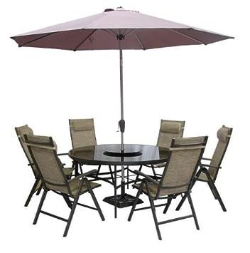 monaco brown 6 seater round garden furniture recliner set - Garden Furniture 6 Seater Round