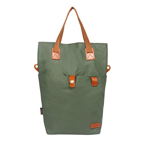 (TOURBON Canvas Clip-On Quick-Release Bike Panniers Women's Shoulder Tote Bag - Green)