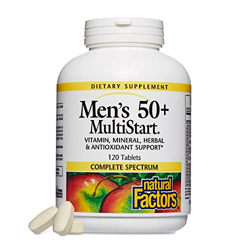 Natural Factors, Men's 50+ MultiStart Daily Multivitamin, Nutritional Support for Immune and Prostate Health, 120 tablets (60 servings)