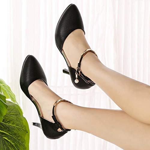 Banda Talones Salvaje Zapato Estilete De La Desnudas Sexy Solo Palabra Botas Baja Boca Delgado Negro Moda wavgXU7q