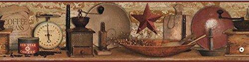 (York Wallcoverings AC4397BD Keepsakes Country Coffee Border Wallpaper, Red/Brown, Red, Brown, Black, Beige, Ecru)