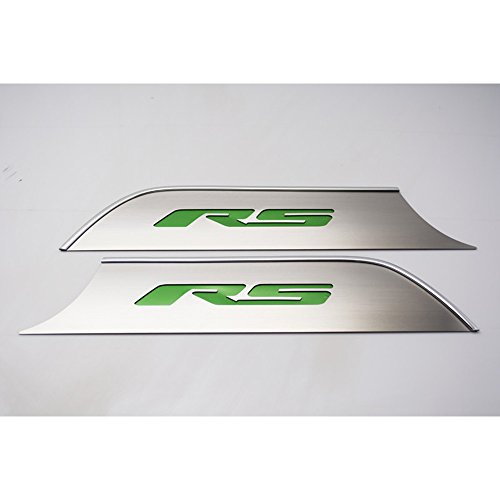 Upgrade Your Auto Brushed Door Panel Kick Plates w/Synergy Green 'RS' Inlay for 10-14 Chevy Camaro (Panels Door Rs)