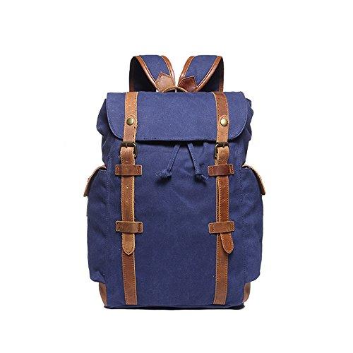 BAGEHUA 少年少女レトロなバックパック、大容量ファッション旅行バックパックには、耐久性に優れた防水通気性に優れたピクニックバッグ(長 30 cm 、高さ 45 cm 、幅 12 cm ) 4 色 B076KBVYR2 Navy Blue Navy Blue