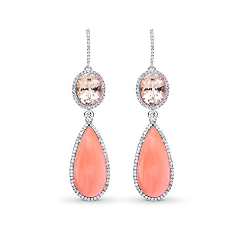 23.06Cts Kunzite Coral Side Diamonds Drop Earrings Set in 18K White Rose (Cts Kunzite Ring)