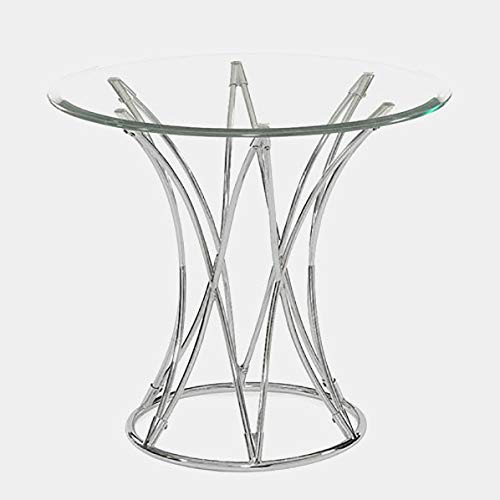 Chrome Openwork Curved Base End Table - End Table with Circular Glass Top - Polished Chrome
