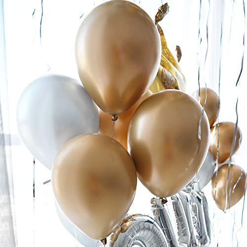 60pcs Gold Silver Chrome Shiny Metallic Latex Balloons 12inch Perfect for Birthday Party Bridal Baby Shower Engagement Wedding Party Decor (Gold,Silver)