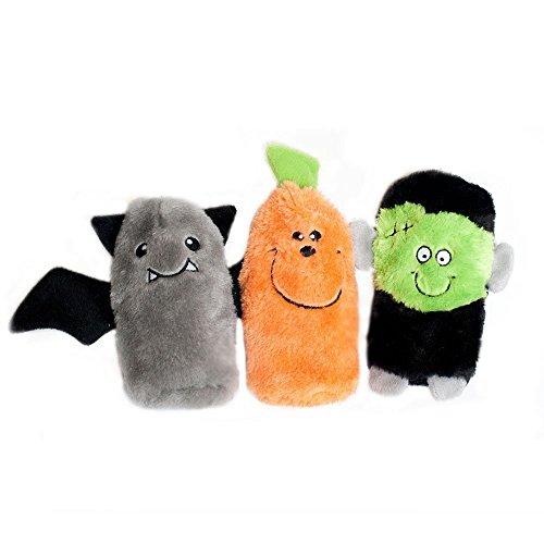 ZippyPaws - Halloween Squeakie Buddies No Stuffing Plush Dog Toy - 3-Pack Frankenstein, Pumpkin, Bat