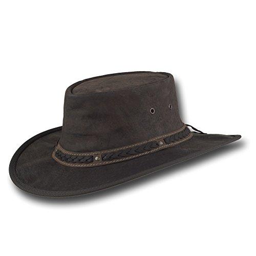 Barmah Hats Crackle Kangaroo Leather Hat 1018CR / 1018HC - Brown Crackle - Xlarge