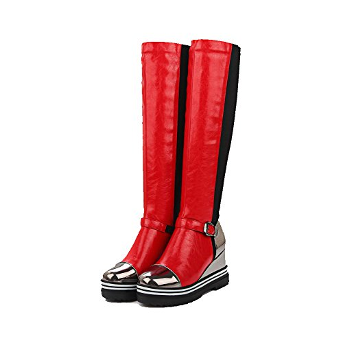 Blend Boots Heels on Round Materials Solid Allhqfashion High Women's Toe Pull Closed Red qUCwpR