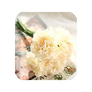 6 Flores 1 Bunch Silk Carnation Heads Artificial Flowers for Home Daisy Bridal Bouquet Wrist Accessories Wedding Car Decoration,Champagne 86