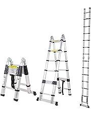 sogesfurniture 16.5ft Aluminum Telescoping Ladder, Extendable Telescoping Ladder, EN131 Telescoping Ladder,Non-Slip Ribbing 330 Pound Capacity, BHCA-KS-JF-UP500D-NEW