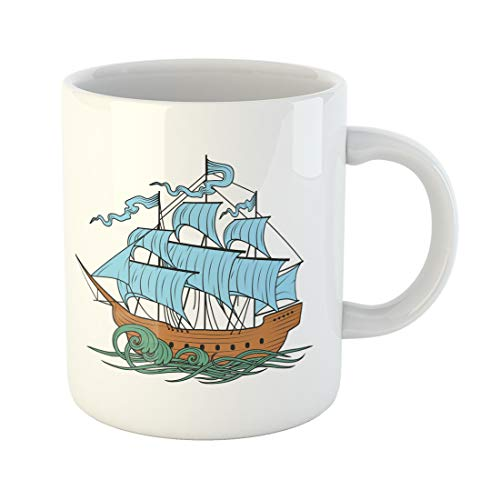 Semtomn Funny Coffee Mug Sail Sailing Ship Boat Cutty Sark Old Pirate Water Ancient 11 Oz Ceramic Coffee Mugs Tea Cup Best Gift Or Souvenir