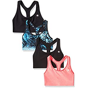 Champion Women's Absolute Sports Bra With SmoothTec Band (Pack Of 4), Black/Neon Flare Heather/Sea Bottom Wingspan, Large