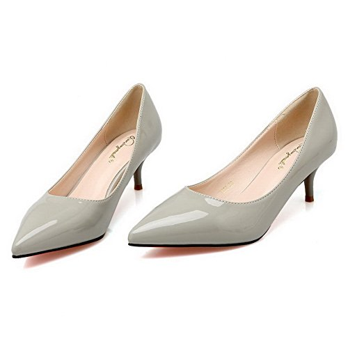 Aalardom Femme Pu Solide Chaton-talons Pointue-pompes-chaussures Gris