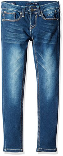 Vigoss Girls' 5 Pocket Skinny Jean, Blueberry Cream, 12 (Super Skinny Rip Jeans)