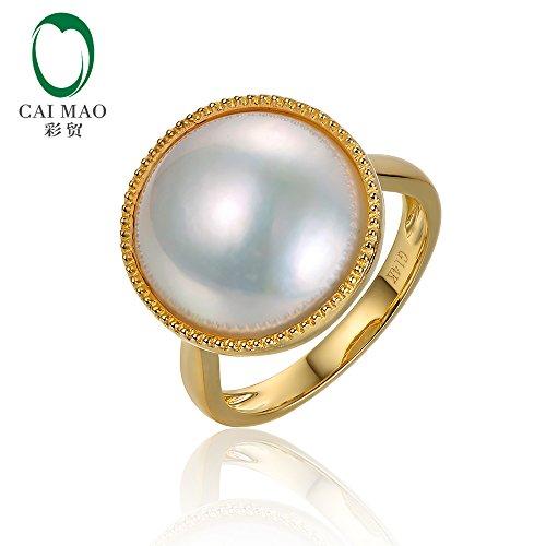 0.16ct Diamond 14K Yellow Gold 15mm Round Waterfresh Pearl Ring
