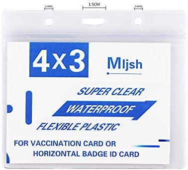 2 Pack - CDC Vaccination Card Protector 4 X 3 in Immunization Record Vaccine Cards Holder Clear Vinyl Plastic Sleeve with Waterproof Type Resealable Zip