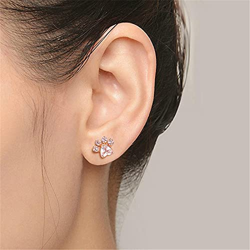Diamant Ohrstecker für Frauen, Vintage Minimalist Intarsien Diamant Metall Flash Damen Ohrring Schmuck Geschenk (Pink)