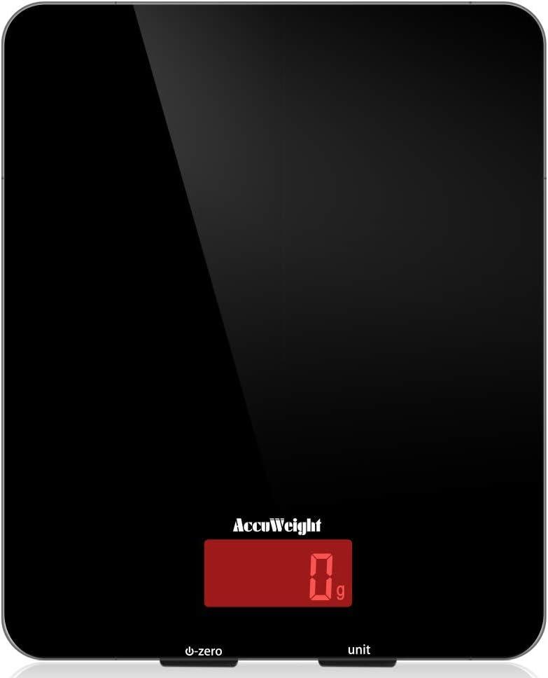 AUWEIGHT Báscula Digital de Cocina 5kg/11 lbs Balanza Alimentos Multifuncional con Superficie de Vidrio Templado y Pantalla LCD para Peso de Comida, Alta Precisión hasta 1g, Negro