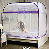 Mosquito Net Square Top 360° All-Enclosed Mosquito Protection Mosquito Net 170cm Height Purple 180cm200cm