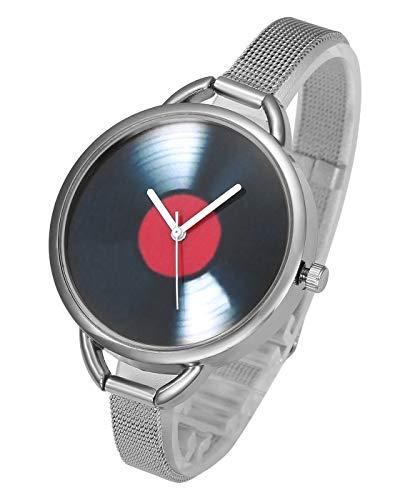 Top Plaza Womens Stainless Steel Analog Quartz Watch Fashion Causal Bracelet Bangle Cuff Wrist Watches, Unique CD Vinyl Pattern, Mesh Metal Thin Band - Silver
