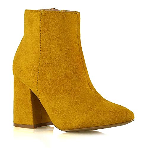 Womens Pointed Ankle Boots Ladies Mustard Faux Suede Block Mid High Heel Zip Up Booties Shoes Size 7 B(M) -