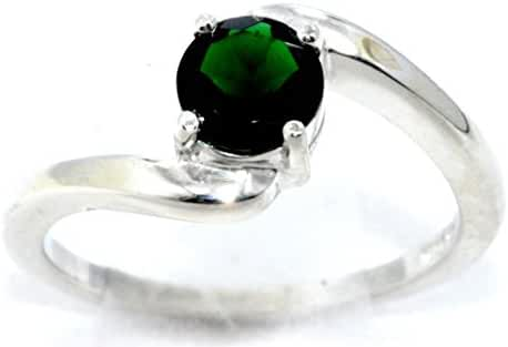 Simulated Emerald Round Ring .925 Sterling Silver Rhodium Finish