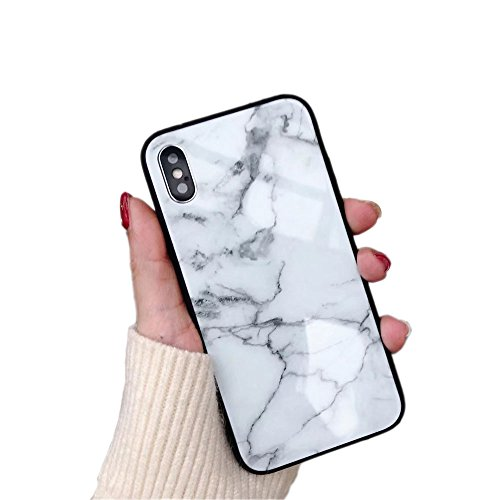 iPhone X Case Luxury Marble Patterned Tempered Glass Back Cover with Soft TPU Bumper Frame Shock Absorption 360 Degree Full Body Strong Protection Extreme Slim White