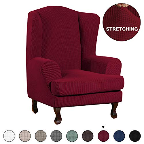 High Stretch Sofa Slipcover Wing Chair Cover Form Fit Slip Resistant Stylish Furniture Protector Polyester Spandex Jacquard Fabric Small Checks Wing Back Cover (Wing Chair, Burgundy) (Red Wings Fabric)